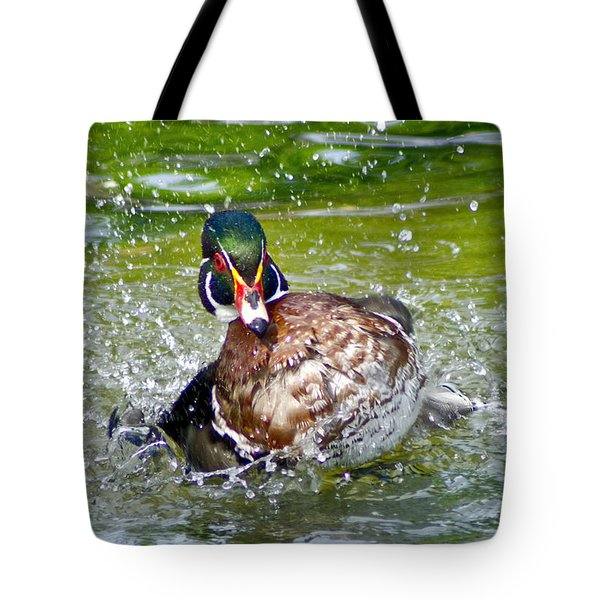 Splashdown - Wood Duck Tote Bag