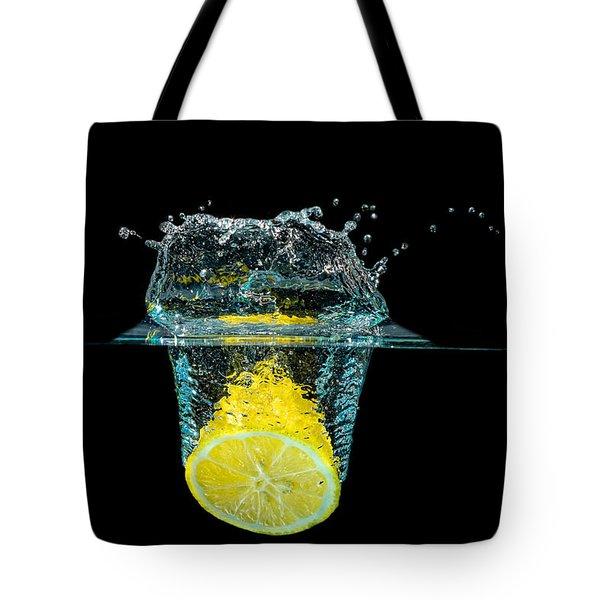 Splashing Lemon Tote Bag by Peter Lakomy
