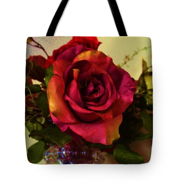 Splendid Painted Rose Tote Bag