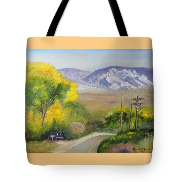 Split Mountain On Golf Course Road Tote Bag by Sherril Porter