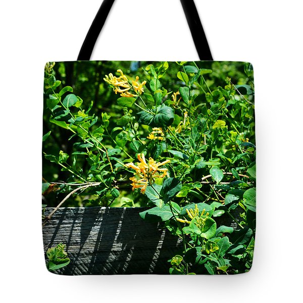 Split Rail Honeysuckle Tote Bag by Cathy Shiflett