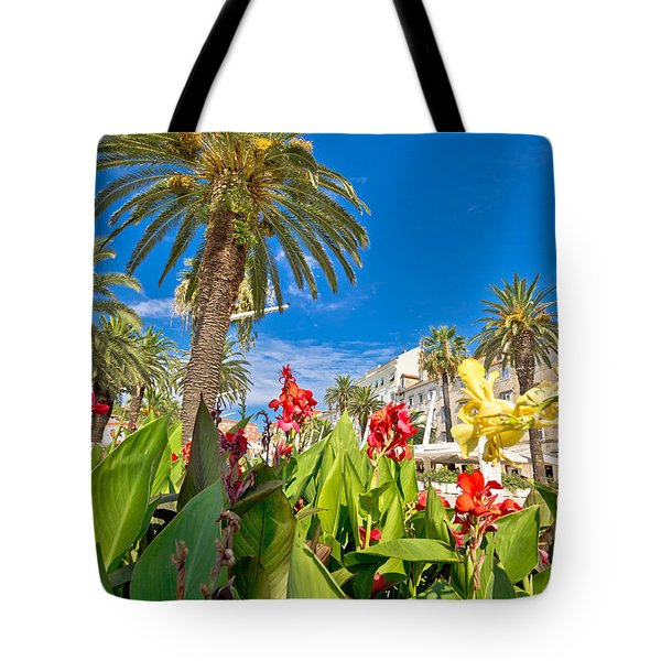 Split Riva Palms And Flowers Tote Bag by Brch Photography