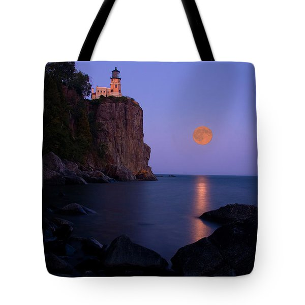 Split Rock Lighthouse - Full Moon Tote Bag