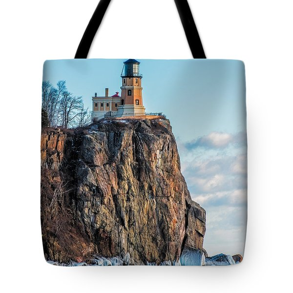 Split Rock Lighthouse In Winter Tote Bag