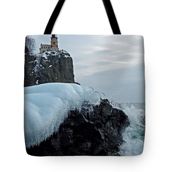 Split Rock Lighthouse Winter Tote Bag