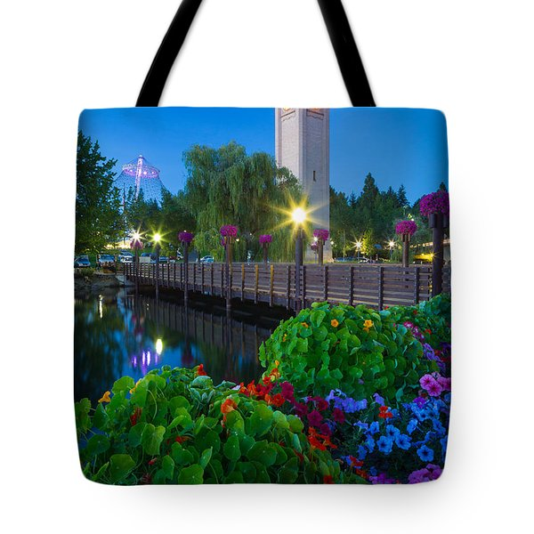 Spokane Clocktower By Night Tote Bag by Inge Johnsson