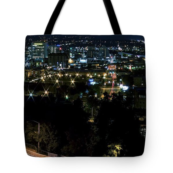 Spokane Washington Skyline At Night Tote Bag by Daniel Hagerman