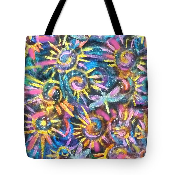 Spokes And Dragonflies Tote Bag by Jean Fitzgerald