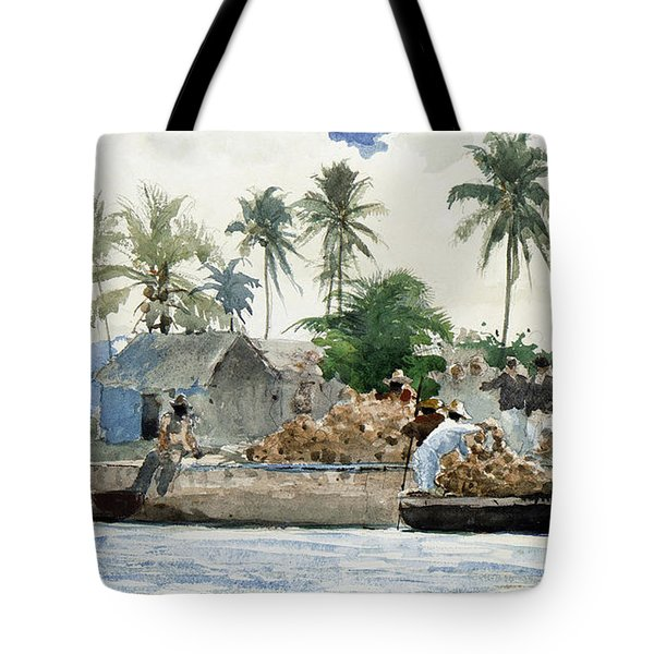 Tote Bag featuring the painting Sponge Fishermen by Winslow Homer