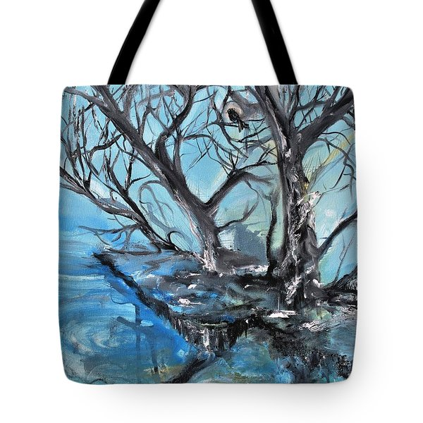Tote Bag featuring the painting Spooky Mood by Evelina Popilian