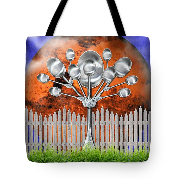 Tote Bag featuring the mixed media Spoon Tree by Ally  White