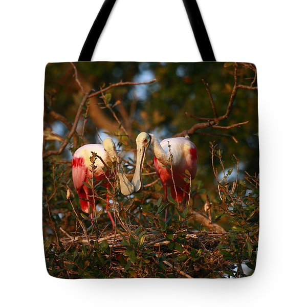 Tote Bag featuring the photograph Spoonbill Love Nest by John F Tsumas
