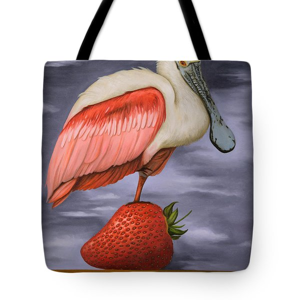 Spoonbill On A Strawberry Pro Photo Tote Bag