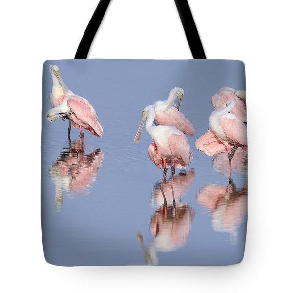 Spoonbills Preening Tote Bag