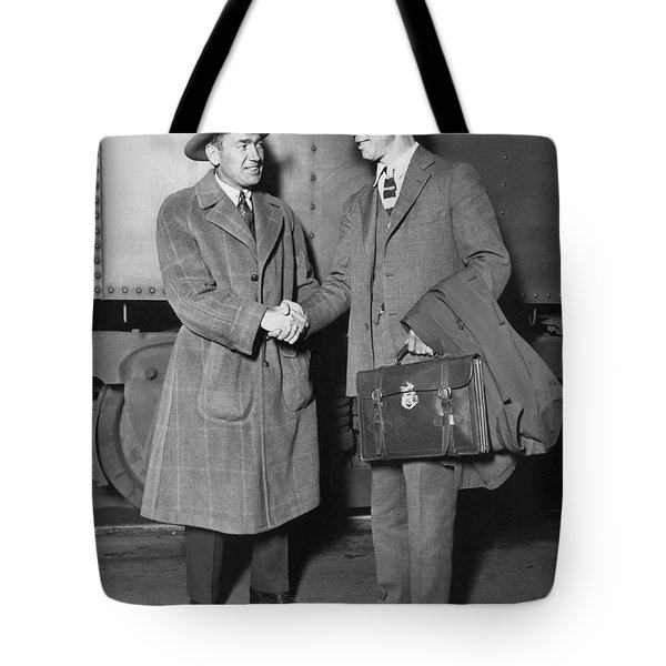 Sportsmen In Chicago Station Tote Bag