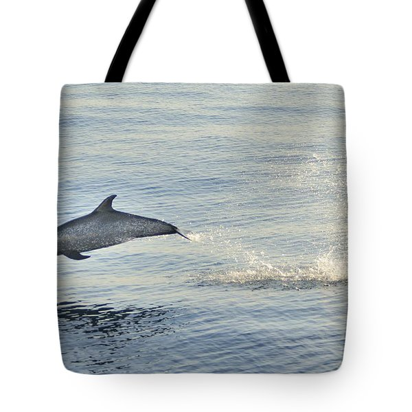 Spotted Dolphin Leaping Tote Bag