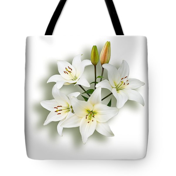 Spray Of White Lilies Tote Bag by Jane McIlroy