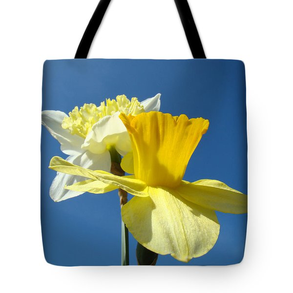Spring Blue Sky Yellow Daffodil Flowers Art Prints Tote Bag by Baslee Troutman