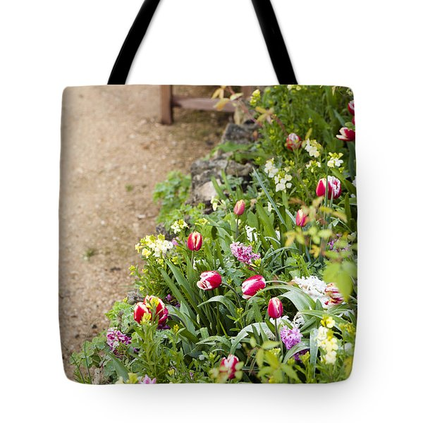 Spring Border Tote Bag by Anne Gilbert