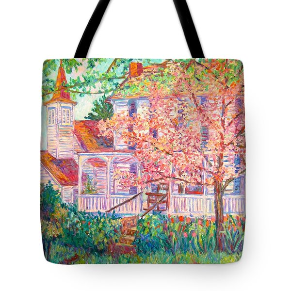 Spring Church Scene Tote Bag by Kendall Kessler
