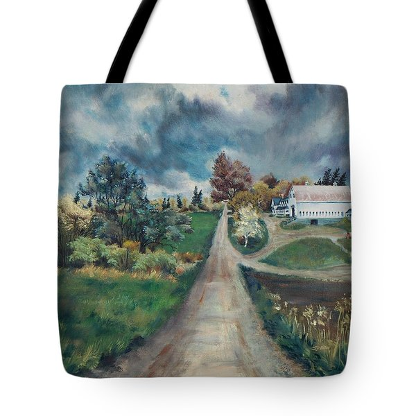 Tote Bag featuring the painting Spring Farm by Joy Nichols