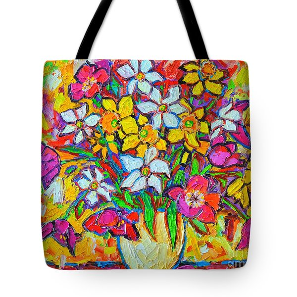 Spring Flowers Bouquet Colorful Tulips And Daffodils Tote Bag by Ana Maria Edulescu