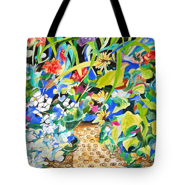 Tote Bag featuring the painting Spring Flowers In A Brown Basket by Esther Newman-Cohen