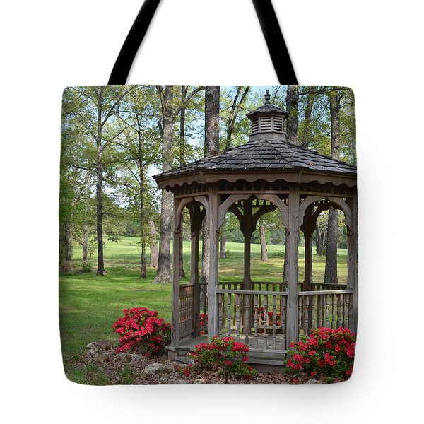 Spring Gazebo Tote Bag by Debbie Portwood