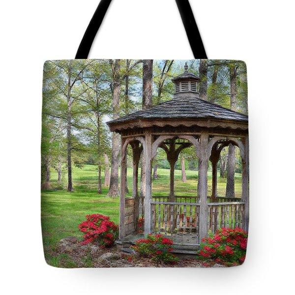 Spring Gazebo Pastel Effect Tote Bag by Debbie Portwood