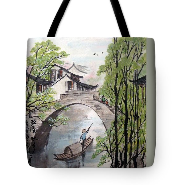 Spring In Ancient Watertown Tote Bag by Yufeng Wang