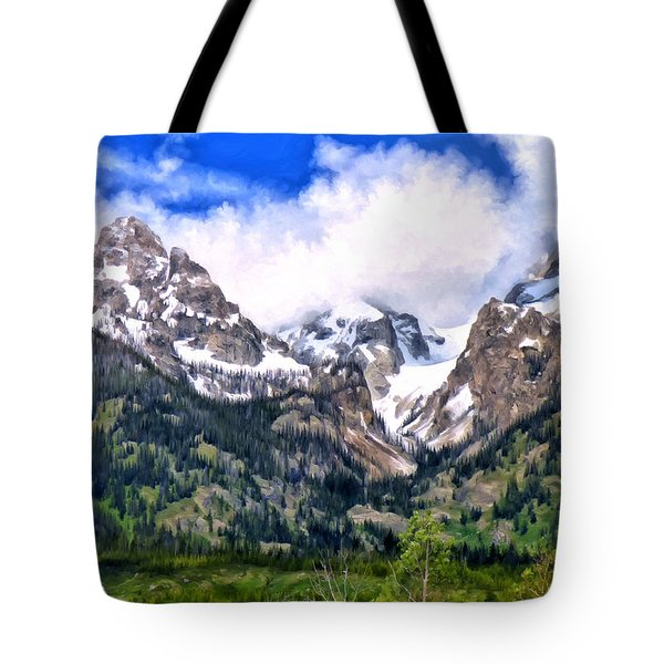 Tote Bag featuring the painting Spring In The Grand Tetons by Michael Pickett