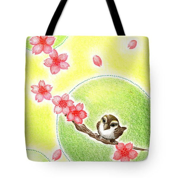 Tote Bag featuring the drawing Spring by Keiko Katsuta