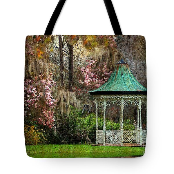 Tote Bag featuring the photograph Spring Magnolia Garden At Magnolia Plantation by Kathy Baccari