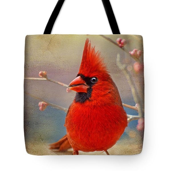 Spring Male Norther Cardinal Tote Bag
