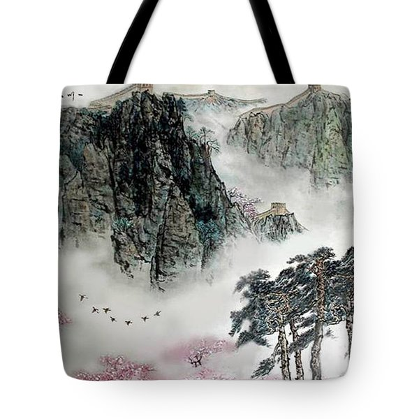 Spring Mountains And The Great Wall Tote Bag by Yufeng Wang