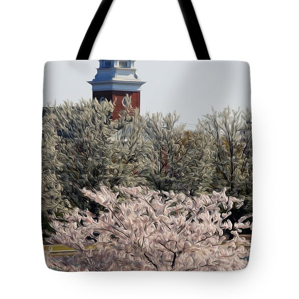 Tote Bag featuring the digital art Spring On Fountain Lake by Kelvin Booker