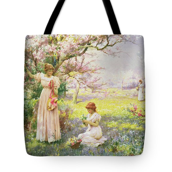 Spring   Picking Flowers Tote Bag by Alfred Augustus I Glendenning