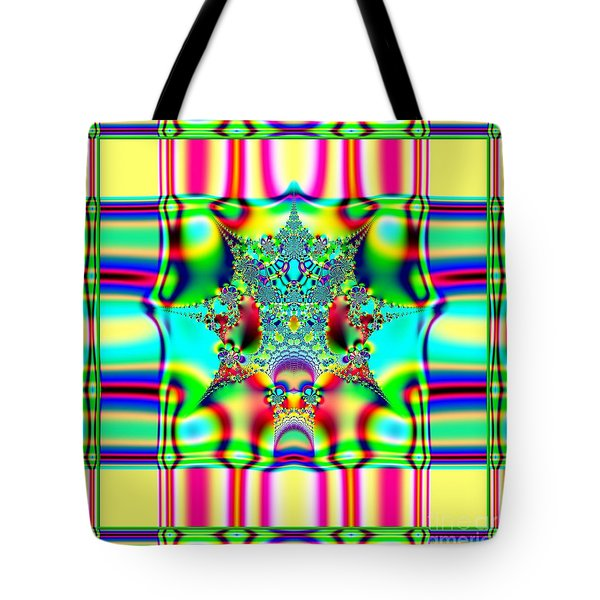 Spring Plaid Fabric Fractal Tote Bag by Rose Santuci-Sofranko