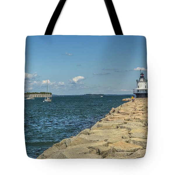 Tote Bag featuring the photograph Spring Point Ledge Lighthouse by Jane Luxton