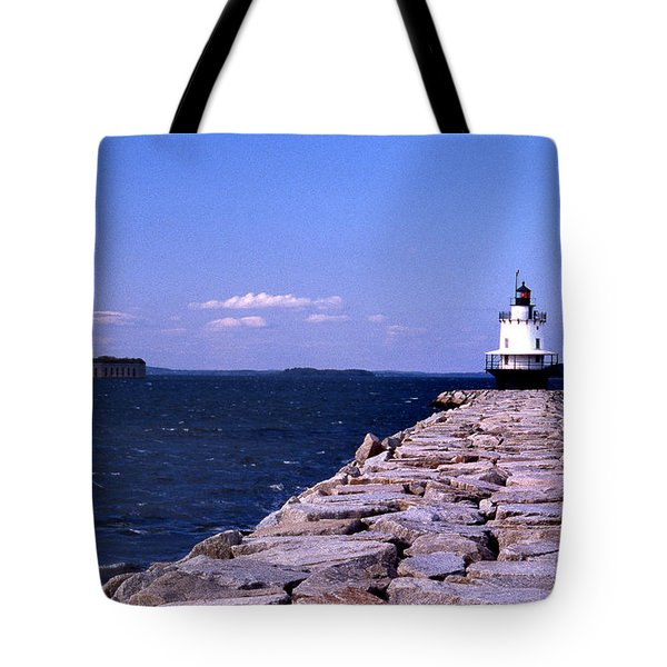 Spring Point Ledge Lighthouse Tote Bag by Skip Willits