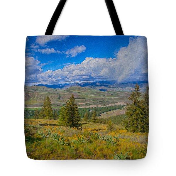 Spring Rain Across A Valley Tote Bag by Omaste Witkowski