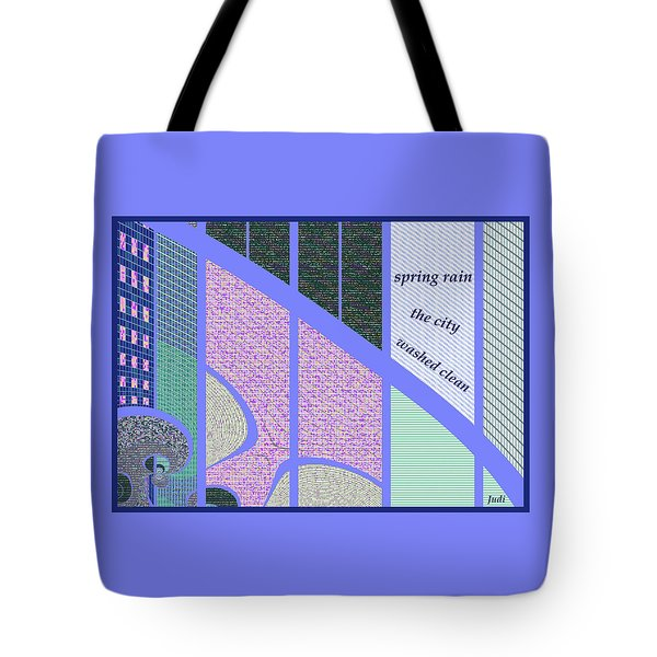 Tote Bag featuring the digital art Spring Rain Haiga by Judi Suni Hall
