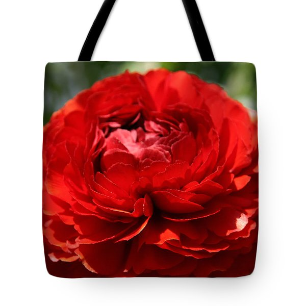 Spring Scarlet Double Begonia Tote Bag
