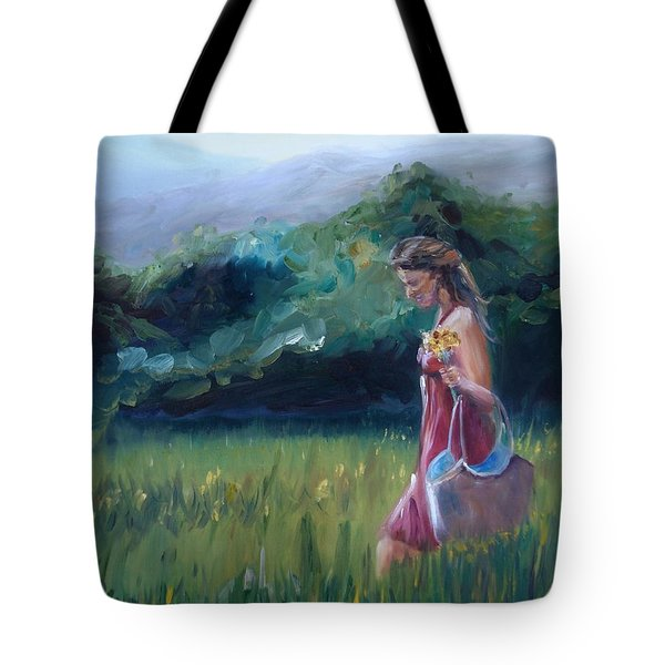 Tote Bag featuring the painting Spring Stroll by Donna Tuten