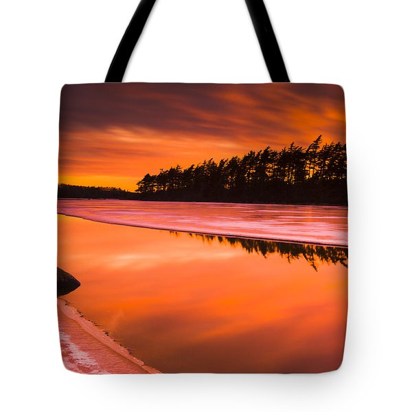 Spring Thaw Sunset, Rocky Lake, Nova Tote Bag by Irwin Barrett
