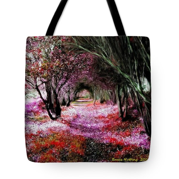 Tote Bag featuring the painting Spring Walk In The Park by Bruce Nutting