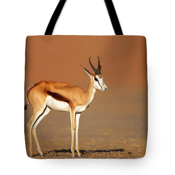 Springbok On Sandy Desert Plains Tote Bag by Johan Swanepoel
