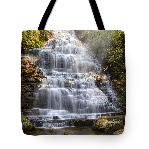 Springtime At Benton Falls Tote Bag by Debra and Dave Vanderlaan