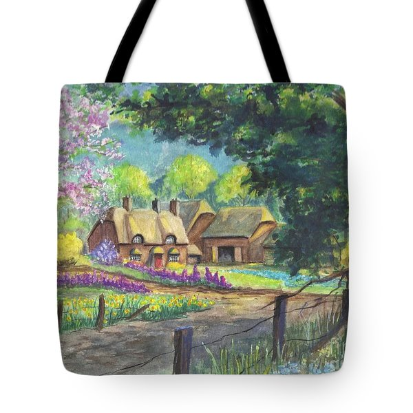 Springtime Cottage Tote Bag by Carol Wisniewski