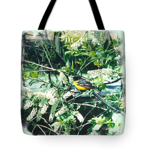 Springtime Moments- Oriole With The Cherry Blossoms Tote Bag